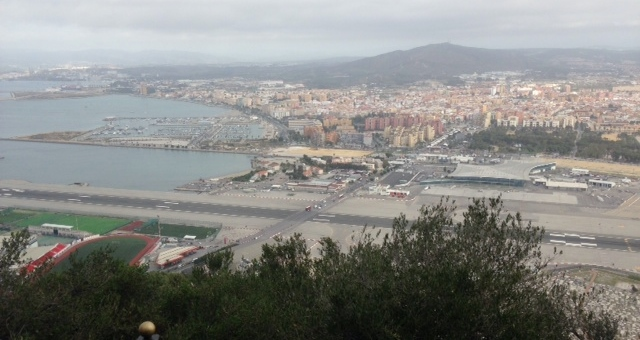 Gibraltar airport at Spanish border viewed from Rock