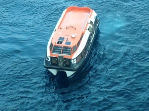 Our lifeboat serving as tender in Horta