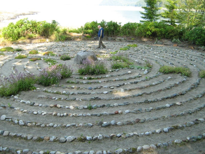 Steve walking the Labyrinth at the St. Therese Shrine