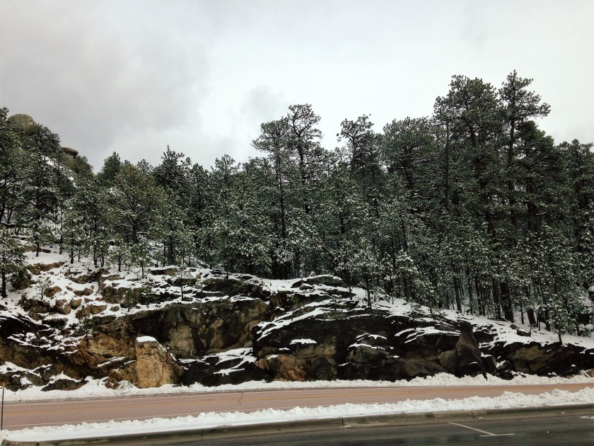 Cliff in snow 4-28-17